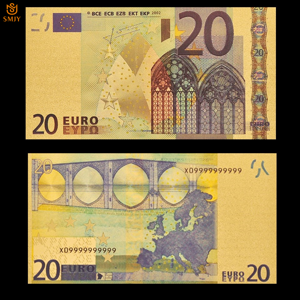 Patriotism Souvenir Bills 24k Gold Banknote Euro Currency 20 Euro Replica Gold Plated Banknote Money Collection