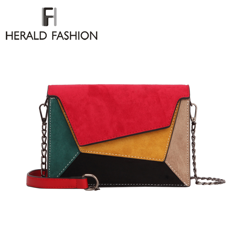 Herald Fashion Quality Leather Patchwork Women Messenger Bag Female Chain Strap Shoulder Bag Small Criss-Cross Ladies' Flap Bag plus criss cross mix
