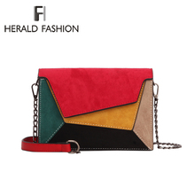 Herald Fashion Quality Leather Patchwork Women Messenger Bag Female Chain Strap Shoulder Bag Small Criss-Cross Ladies' Flap Bag стоимость