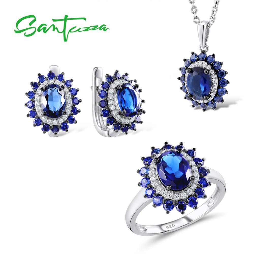 Silver Flower Jewelry Set Bridal Wedding Jewelry Set Blue CZ Stones Ring Earrings Pendant Set 925