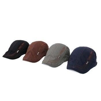 0fdac36b3b22 Sombrero de Boina Vintage para Hombre bordado gorra plana avanzada Boina  Newsboy clásico Peaky Blinder boinas de algodón gorras para Hombre Boina ...