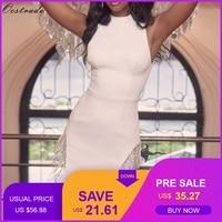 Ocstrade 2019 New Arrival Summer Crystal Trim Bandage Party Dress Sexy White Bandage Dress Women Sleeveless Bodycon Mini Dress