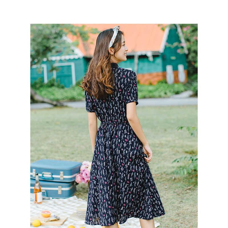 INMAN Лето 2019 Новое поступление отложной воротник Ретро художественное цветочное пасторальное узкое приталенное ТРАПЕЦИЕВИДНОЕ женское платье