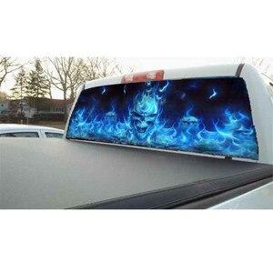 Image 3 - 135x36cm for SUV Rear Window Flaming Skull Cool Sticker Rear Window Sticker Phantom pattern