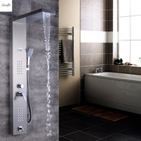 Brushed Nickel Finish Bathroom Rainfall Shower Panel Thermostatic Spout Shower Column Tankless Massage Jet Rainfall Shower Tower