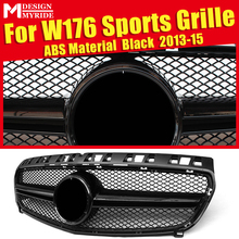 W176 Grille AEAMG Style ABS material Gloss Black Grills Fit For W176 A180 A200 A250 Front Bumper Grill Without emblem Mesh 13-15