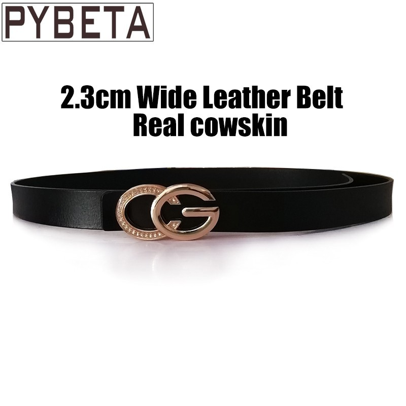 [PYBETA] 2018 Fashion   Belts   For Pretty Lady Jeans Gemstone Decorative C Gilded Luxury Letter G Solid Buckle Cowskin WaistBands