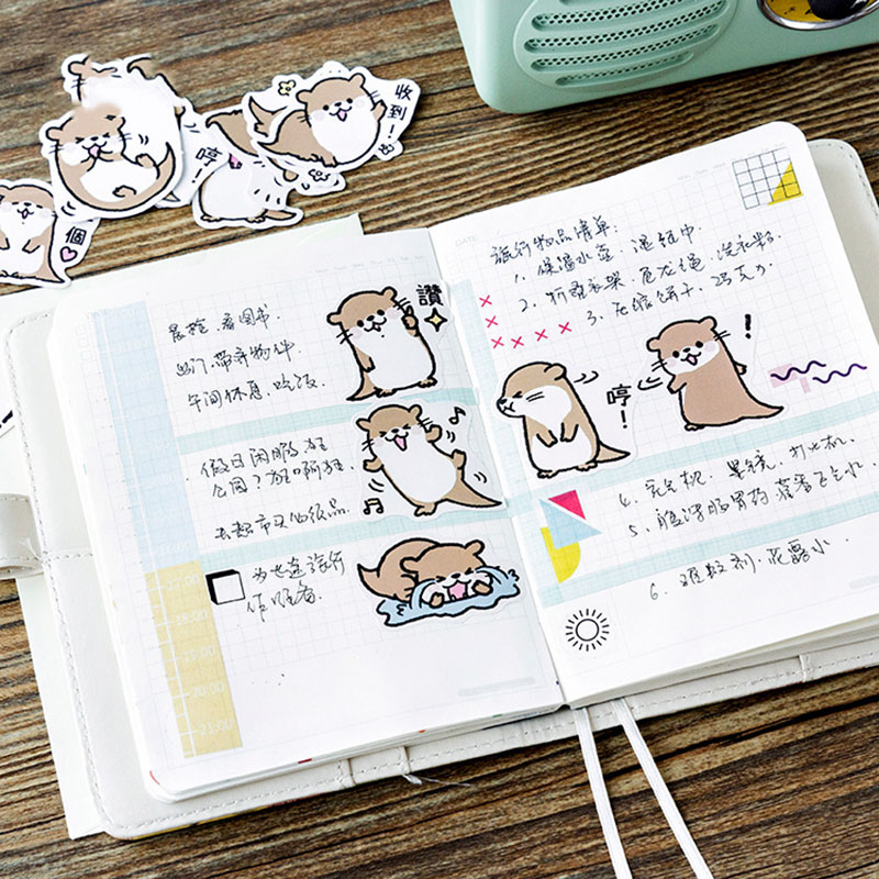 45Pcs/Box Cute Stickers Kawaii Cartoon Otter Adhesive Stickers For DIY Diary Photo Album Decorative Scrapbooking Stickers