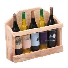 Creative Wooden 3D 5 Plastic Wine Bottles Fridge Magnet Manual Log Refrigerator Sticker Fridge Magnet
