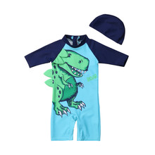 Summer Children Boys Swimsuit Kid Boy Sun Protective Swimwear Baby Boy Dinosaur Pattern Beach Long Sleeve Swimming Costume+Hats