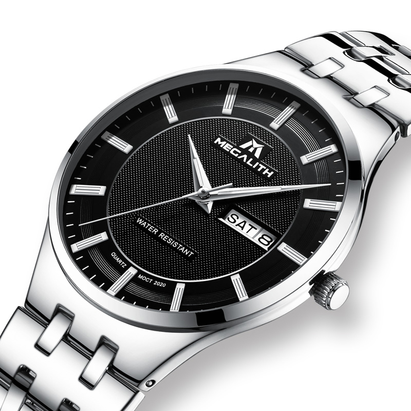 MEGALITH Men's Watch Waterproof Quartz Wrist Watches Simple Stainless Steel Strap Date Calendar Analogue Watches Men Clock