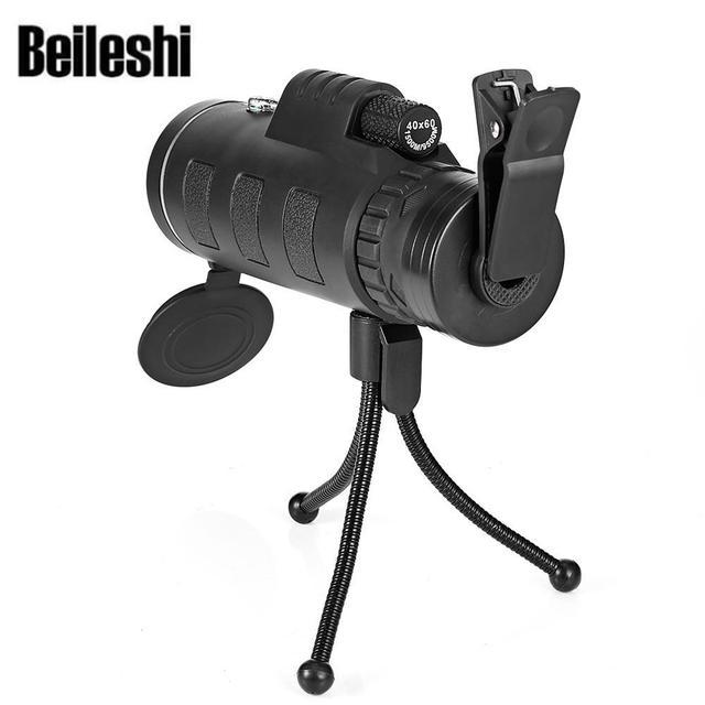 Beileshi 40X60 HD мини День ночного видения телескоп Монокуляр с штативом телефон клип Ручной оптический Монокуляр Открытый Кемпинг