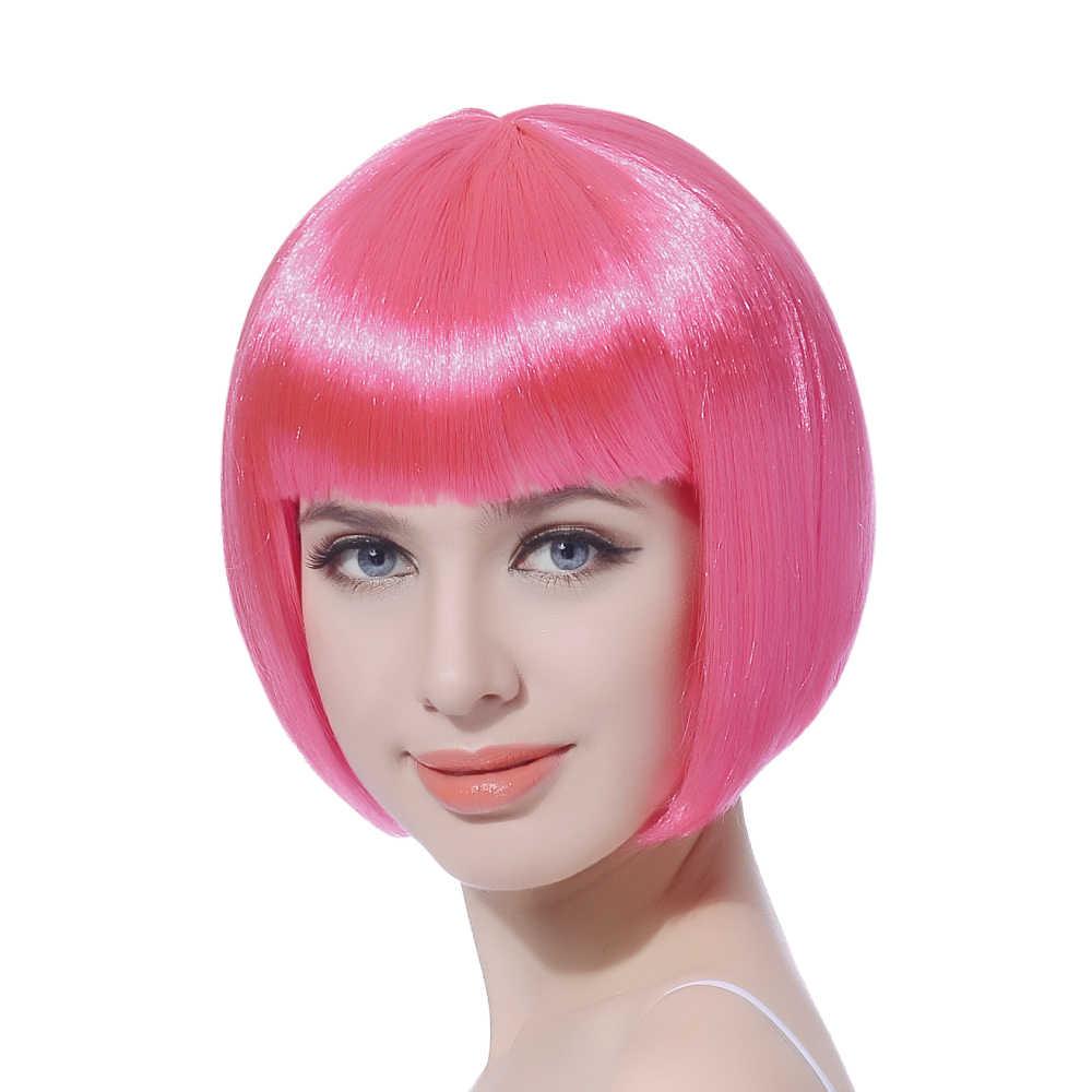 """10 """"krótkie proste Cosplay Bob peruka włosy syntetyczne różowy blond czarny Cosplay Party Halloween BOB peruki z grzywką odporne na ciepło"""