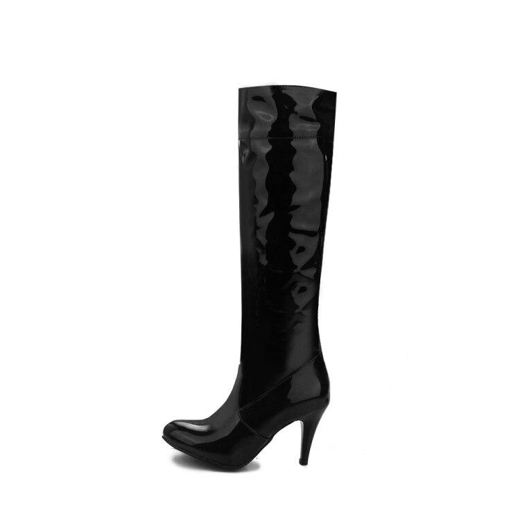 La Alto Botas Zapatos Peluche De Rodilla Cuero Mujer Tamaño Negro Blanco Corto Gran 27 45 blanco Xianyiduo Altas Otoño k 40 Tacón 0g4w0qx