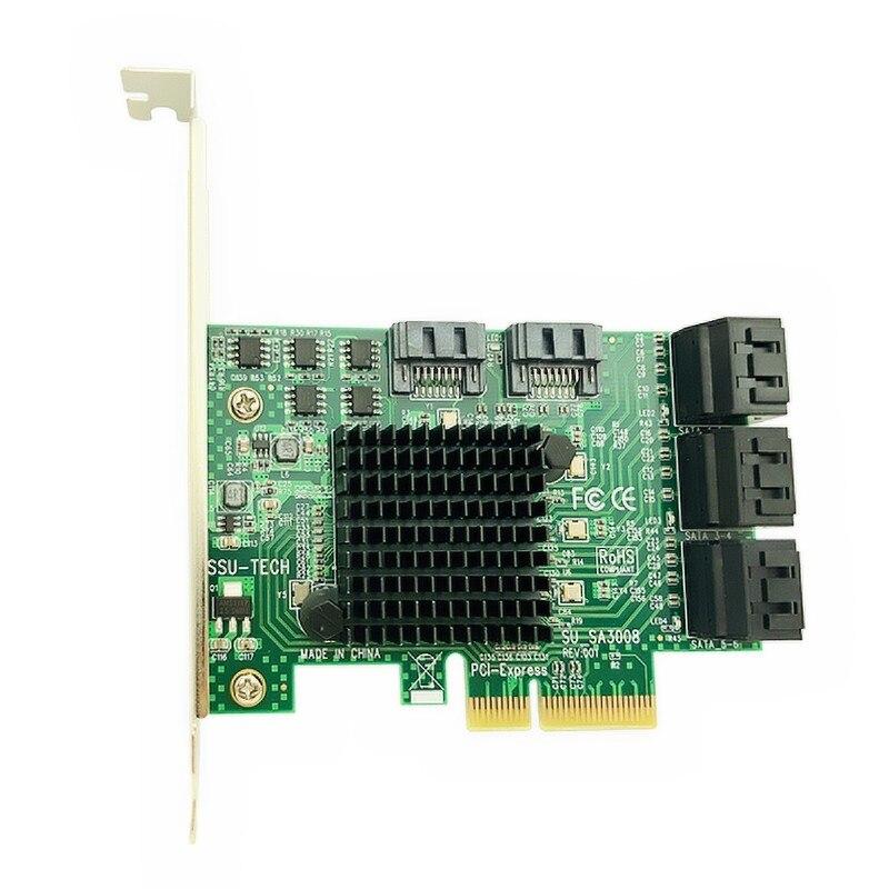 Pci E Pci Express To Sata 3.0 Iii 3 6Gb Controller Card Ssd Pcie 8 Port Sata Card Ssd Sata3.0 Adapter Raiser Low Profile Brack