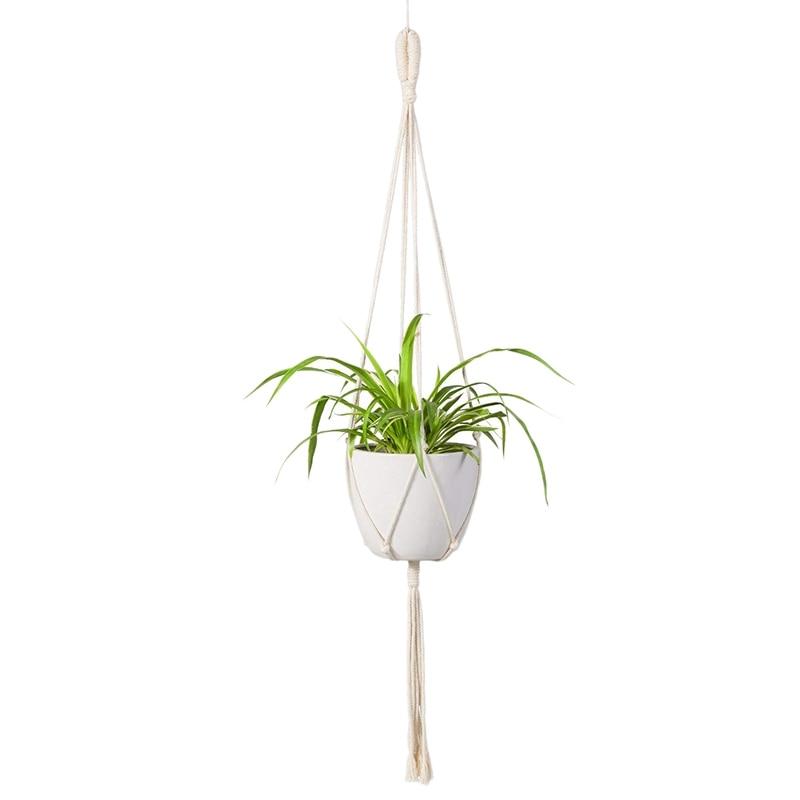Briljant Macrame Plant Hanger Indoor Outdoor Wall Opknoping Planter Mand-katoenen Touw Moderne Boho Home Decor