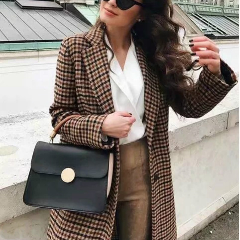 Retro V-Neck Slim Plaid Blazer Turn-Down Collar Jacket Long Sleeved Checked OL Woman Suits Casual Buckles Double-breasted Coat