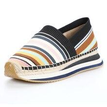 DZYM Spring Summer Woven Mesh Women Sneakers 4cm Platform Flats Braided Rainbow Fisherman Shoes Cotton Hemp Gingham Mocassins