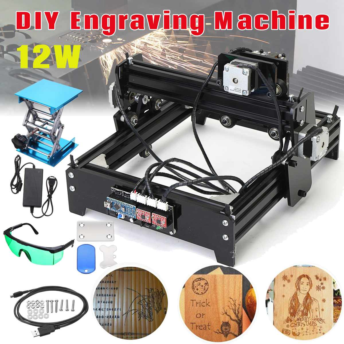 12 w 12000 mW 12 v bricolage CNC graveur Laser USB métal pierre gravure Machine bureau bois routeur/Cutter/imprimante pour Windows 7/8/10