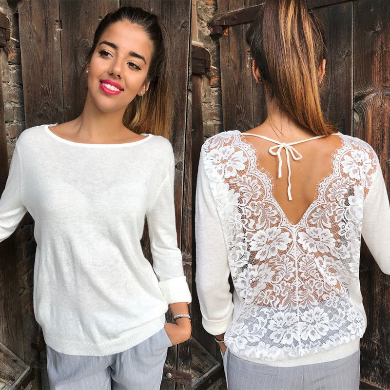 New Fashion Women Backless Lace Sheer Long Sleeve Embroidery Floral Lace Crochet Tee Shirt Tops Blouse