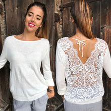 New Fashion Women Backless Lace Sheer Long Sleeve Embroidery Floral Lace Crochet Tee Shirt