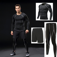 Men Gym running sets compression, Gym Fitness tight sets sportswear boy sport basketball jerseys training suits 3pcs kits