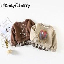 Boys T-Shirt Plaid Sweater Stitching Baby-Girl And Round-Collar Coat Hem Velvet