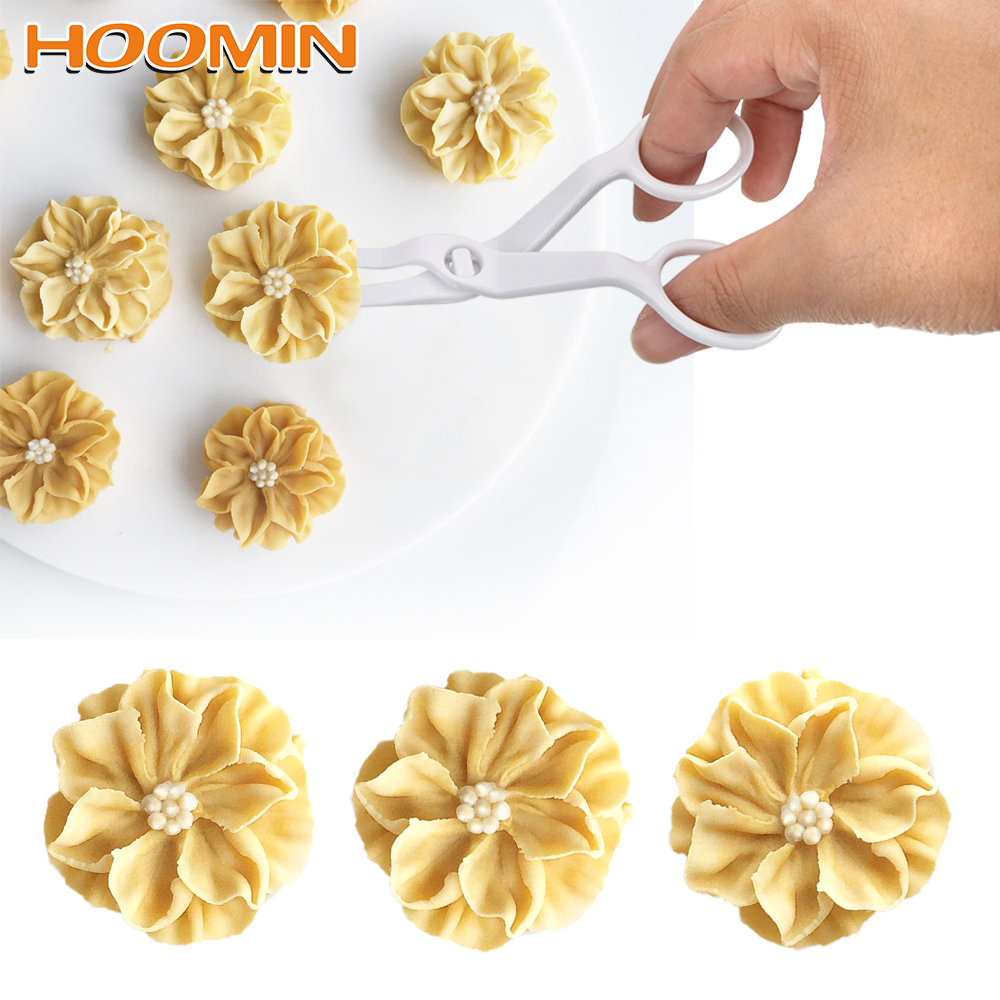 HOOMIN Cake Flower Tray Plastic Scissors for Cream Flower Transfer Fondant Cake Decorating Tool Baking Pastry Tools