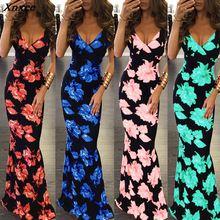 купить Xnxee 2019 Women's Europen and American Fashion Sexy Print Dress Harness Dress Flower Dress Bohemian Slim Dress Xnxee по цене 969.8 рублей