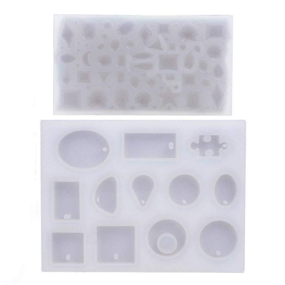 (57 Muster) 2 Pcs Form Für Anhänger Halskette Schmuck Seife Harz Cabochon Silikon Formenbau Freizeit Handwerk Diy Handwerk Diy Je