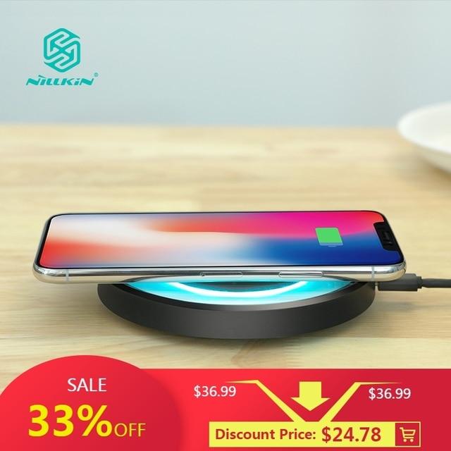 10W Qi Wireless Charger NILLKIN สำหรับ iPhone X/XS/XR/8/8 PLUS สำหรับ Samsung Note 10/S10 Qi Wireless Charger แบบพกพาสำหรับ Mi 9