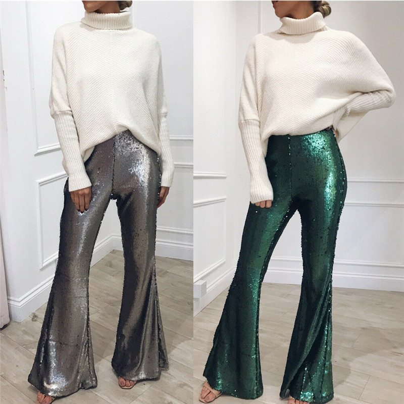 2019 New Women Ladies High-Waist Boho Long   Pants     Capris   Empire Palazzo Baggy Wide Leg Loose Sequined Flare   Pants   Shinny Trousers