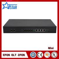 1U rack mount 2 PON Ports EPON OLT optical line terminal