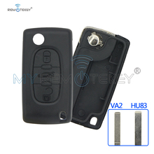 Remtekey CE0523 3 Buttons middle trunk button HU83 key blade Flip Remote car Key Shell Blank Cover For Citroen key case free shipping 3 button flip key shell with battery ne78 blade for citroen 0536 10 piece lot
