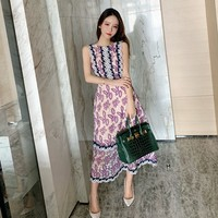 Vintage Hollow out embroidered runway dress summer women 2019 Slim thin ladies sleeveless lace long party dress sukienki damskie