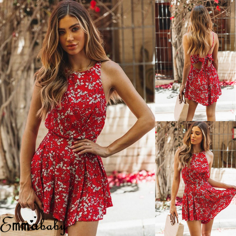 2019 Newest Arrival Sexy Summer Womens Beach Backless Bandage Shorts Jumpsuit Ladies Sleeveless Floral Playsuit