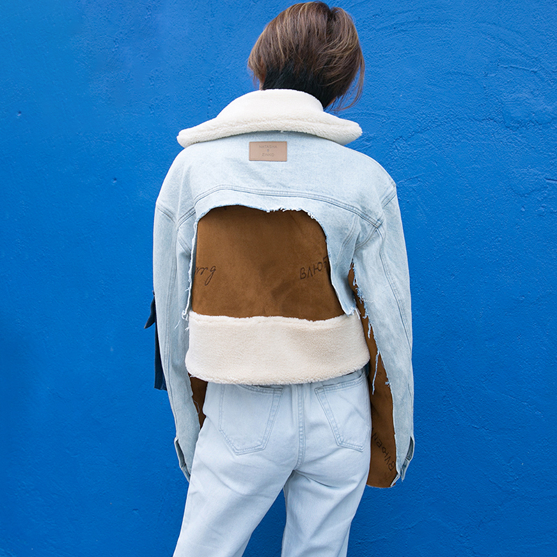 Poche De Picture Irrégulière Style Mode Longues Féminine menkay Denim Femmes Coat Automne As Patchwork 2018 Couleur Veste Coréen Hit Manches Manteaux Hz8HpxO