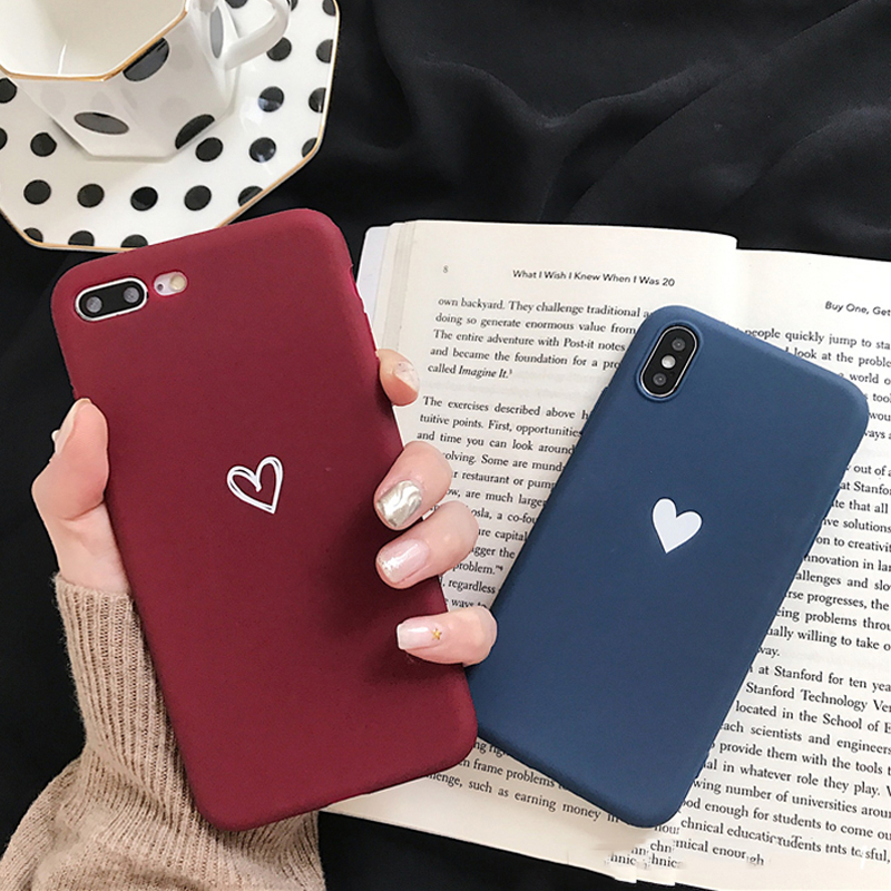 Lovebay Soft Silicone Phone Case Cover For Apple Iphone 8 8plus 7 6 6S 5 5S Plus SE XS Max XR X Love Heart Ultra-thin Back Cover