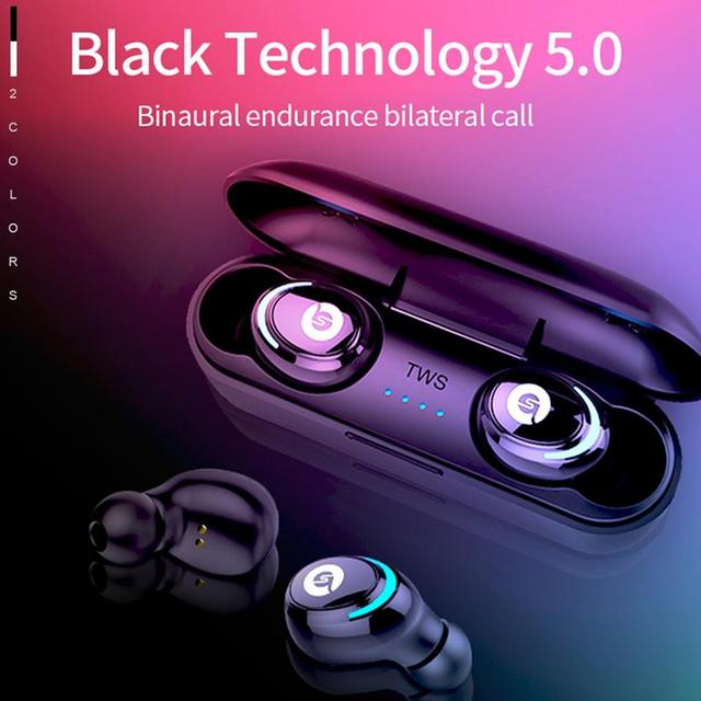 For AIR01 BT 5.0 Wireless Bluetooth Earphone TWS In Ear Sports Stereo Earbuds 6D Sound Binaural USB Earphone With Mic
