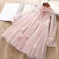 Spring girl dress lace long sleeve pink beidge kids dresses for girl princess dress children baby girl clothes school party YBP