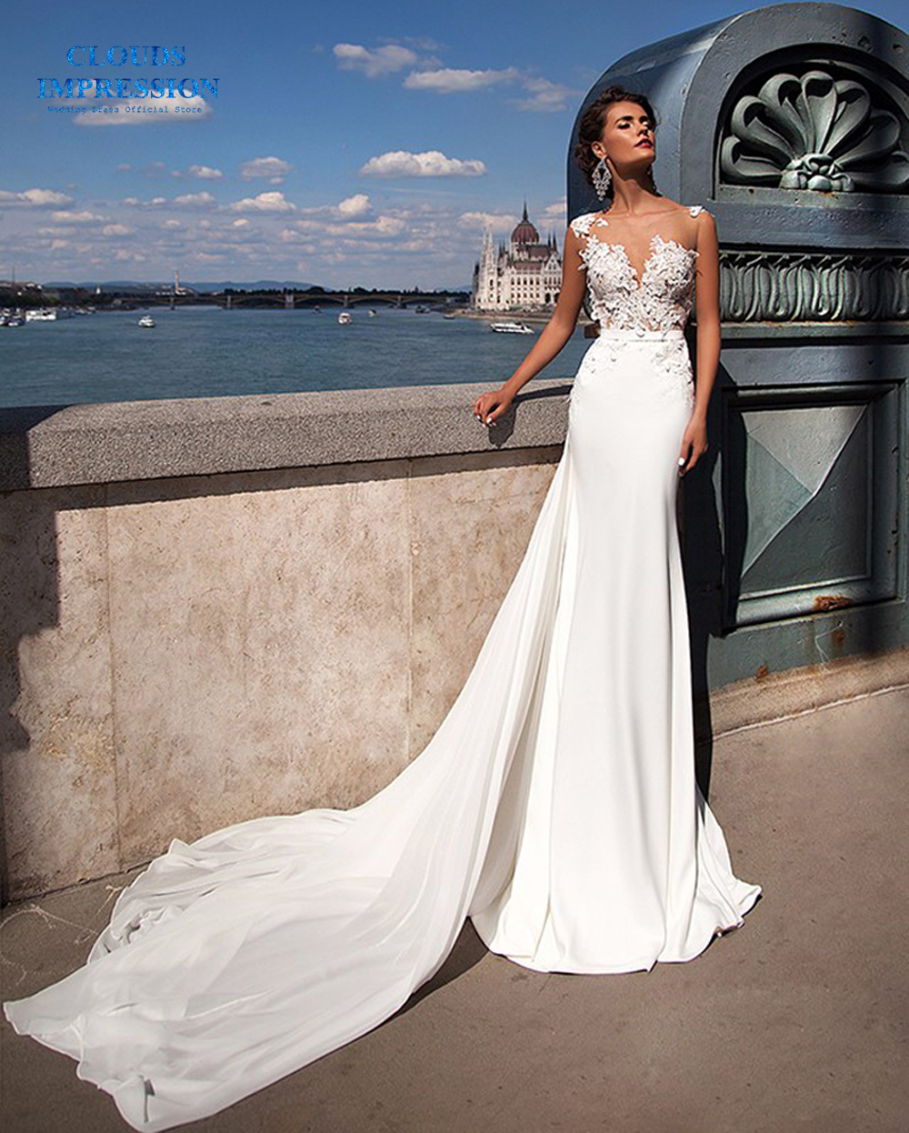 CLOUDS IMPRESSION Luxury Mermaid Wedding Dresses 2019 With Detachable Train Trumpet Bridal Gown Vestido de Noiva