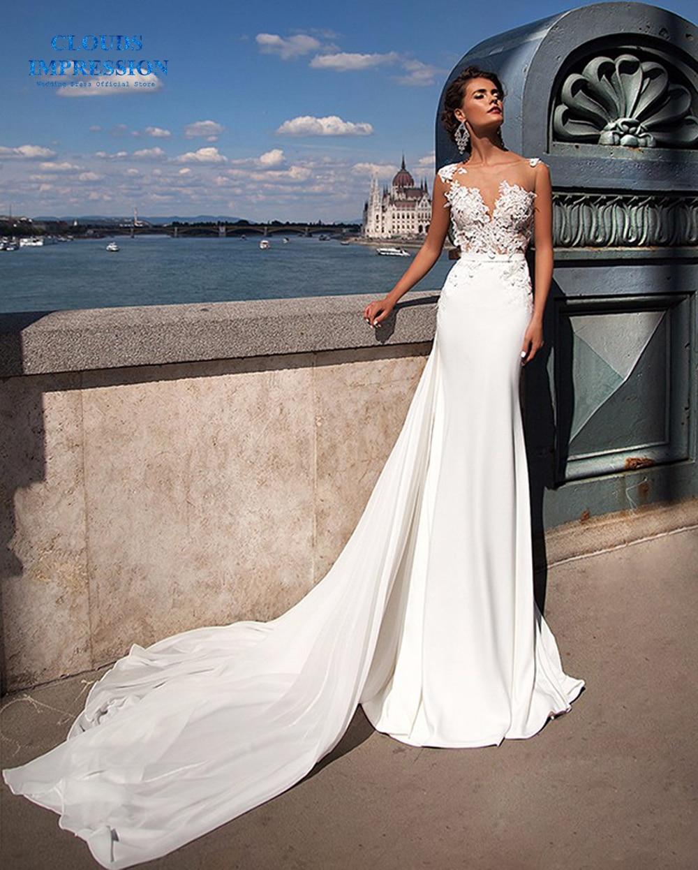 Trumpet Wedding Dresses 2019: CLOUDS IMPRESSION Luxury Mermaid Wedding Dresses 2019 With