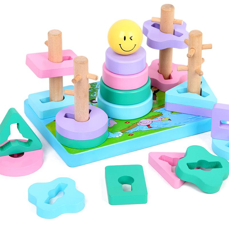 Geometric Stacker Toddler Toy Developmental Rings Octagons Rectangles Colorful Wooden Pieces Wooden Shape Sorter Stacking Toys