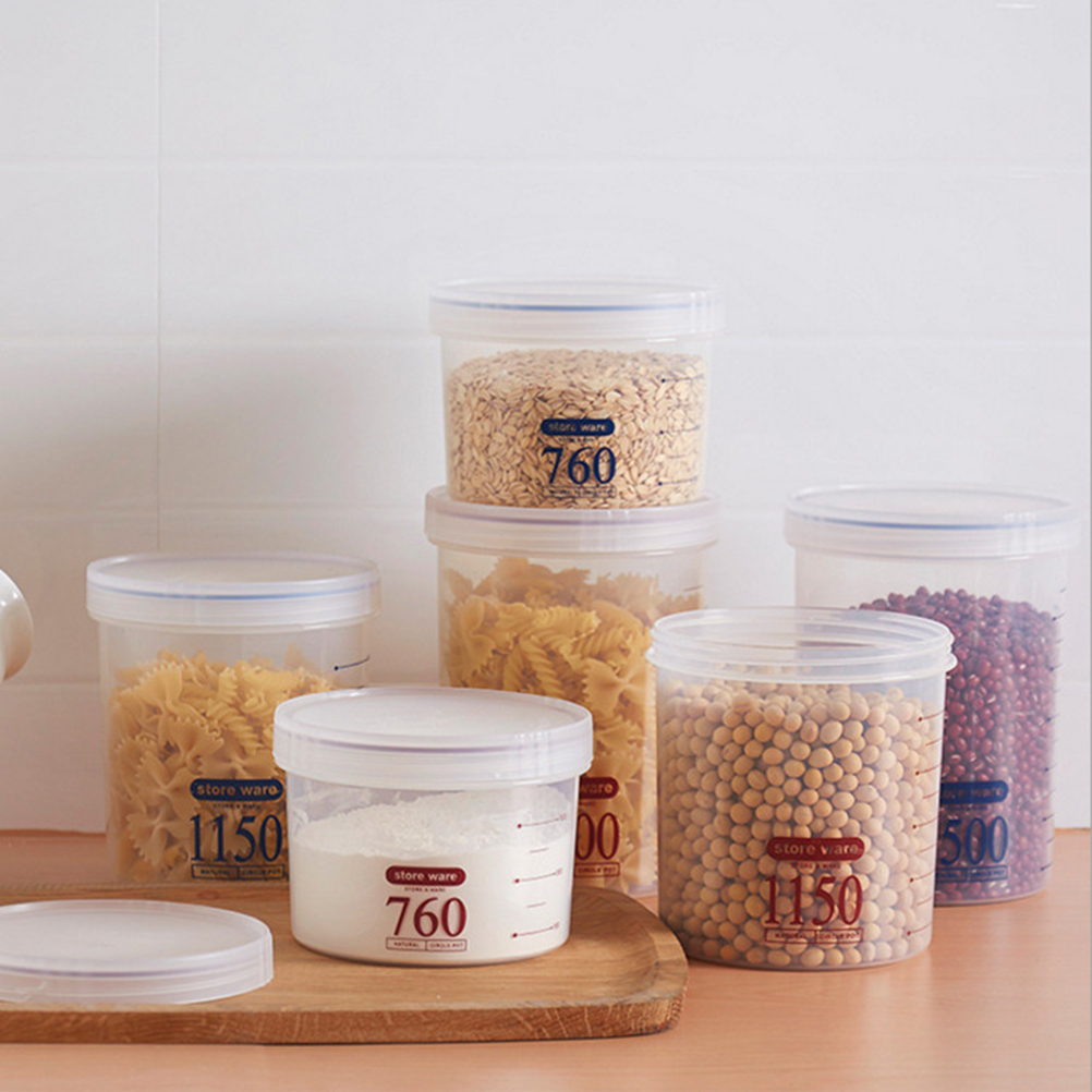 US $3.27 42% OFF|1pc Plastic Airtight Leakproof Storage Container for Rice  Snacks Cereal Sugar Flour (Random Color) kitchen container with cover-in ...