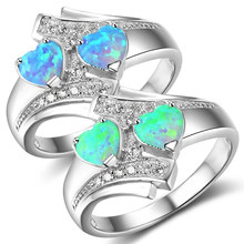 Fashion Moonstone Blue Heart Crystal Opal Ring Jewelry For Women Wedding Engagement Rings Drop Shipping(China)