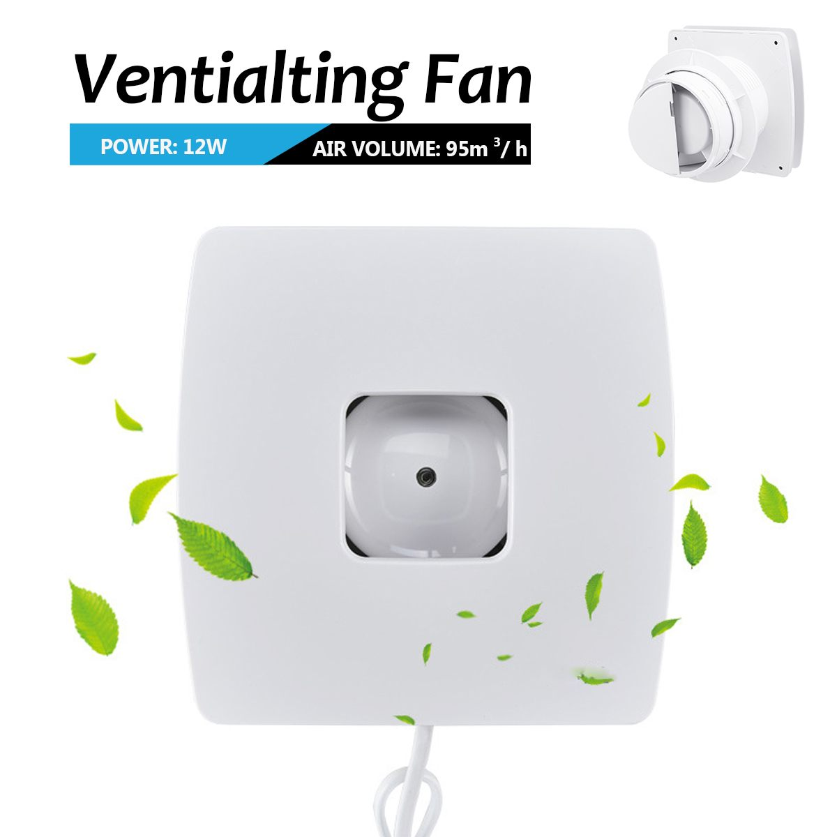 12W Ventilation Fan Cool Quiet Ducted High Speed Air Ventilator Blower Pipe Extractor Bathroom Kitchen Toilet Home Exhaust fan