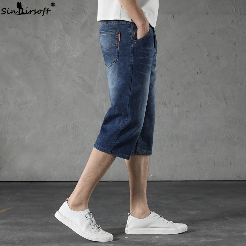Plus Size 30 48 Men Denim Shorts 2019 Summer New Style Thin Section Elasti Slim Fit Knee Length Short Jeans Male Brand Clothing in Casual Shorts from Men 39 s Clothing