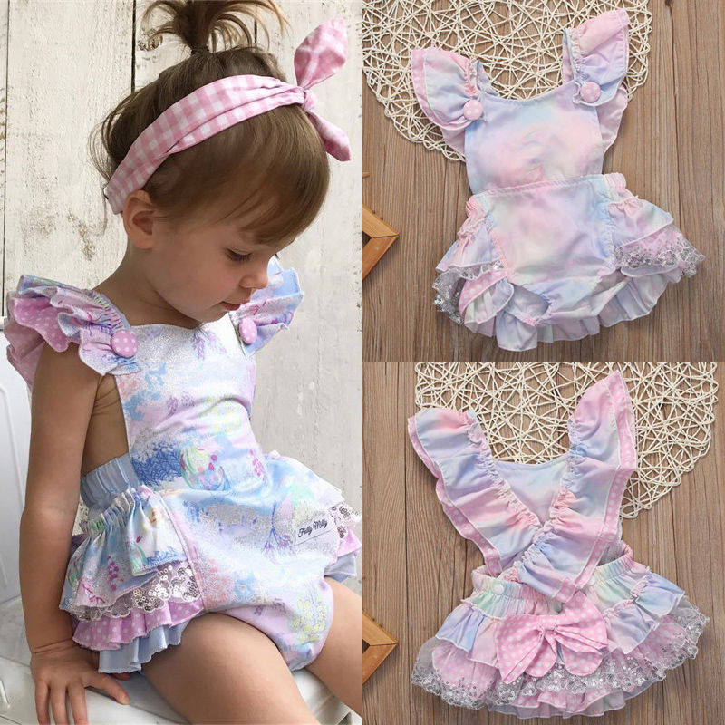 Tutu Romper Jumpsuit Outfits Floral Newborn Baby-Girl Sleeveless Bow title=