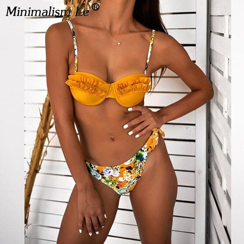 9421e5a18865 Minimalismo Le Ruffle Bikinis Set estampado fondos Push Up traje de baño  2019 nuevas mujeres ...