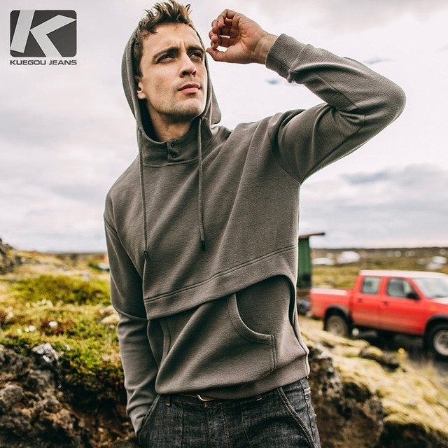 Autumn Men Hoodies Cotton Solid Pocket Green Color For Man Casual Slim Fit Hooded Clothes 2018 Male Wear Tops Tracksuits 1100